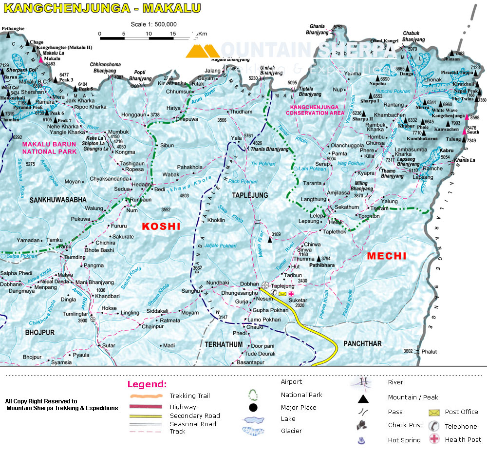 Map of eastern himalyan trekking region