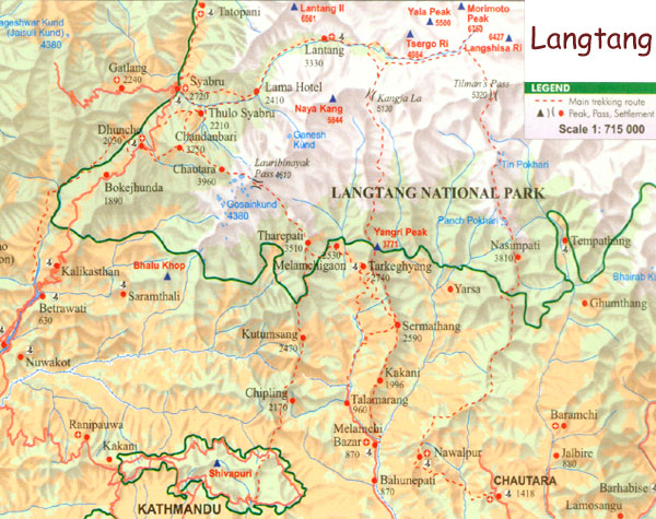 Map of langtang trekking region